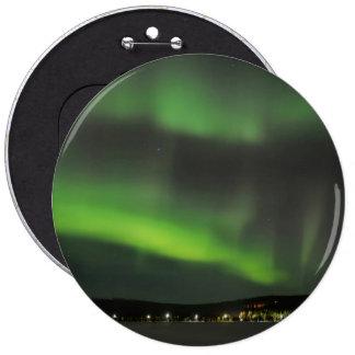 Aurora borealis in the sky pinback button