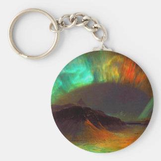 Aurora Borealis - Northern Lights Basic Round Button Keychain