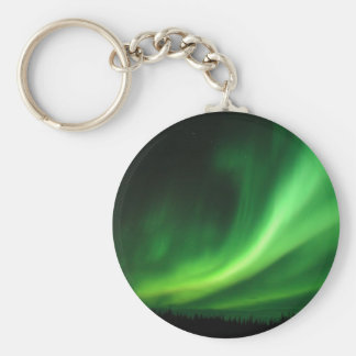 Aurora Borealis Northern Lights Basic Round Button Keychain