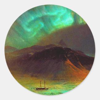 Aurora Borealis,  Northern Lights Classic Round Sticker