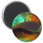 Aurora Borealis,  Northern Lights 2 Inch Round Magnet