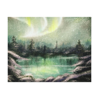 Aurora Borealis, Northern Lights, Oil Painted Canvas Print