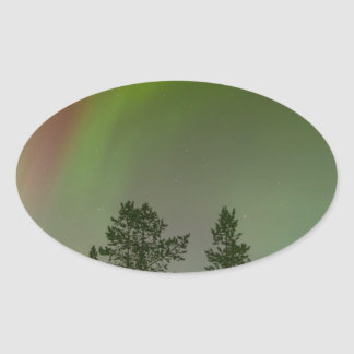 Aurora Borealis Northern Lights Skies Glow Sparkle Oval Sticker