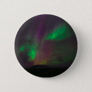 Aurora Borealis Northern Lights Trees Nature Lands Pinback Button