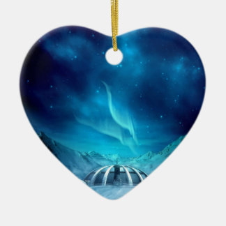 Aurora Borealis Double-Sided Heart Ceramic Christmas Ornament