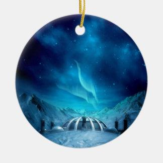 Aurora Borealis Double-Sided Ceramic Round Christmas Ornament
