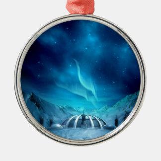 Aurora Borealis Round Metal Christmas Ornament