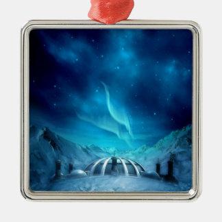 Aurora Borealis Square Metal Christmas Ornament
