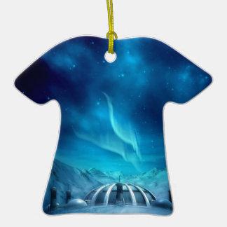 Aurora Borealis Double-Sided T-Shirt Ceramic Christmas Ornament