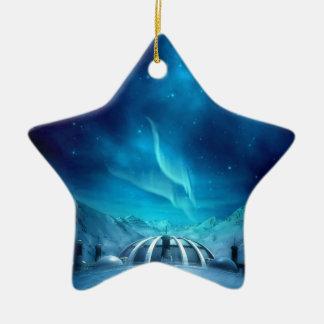 Aurora Borealis Double-Sided Star Ceramic Christmas Ornament