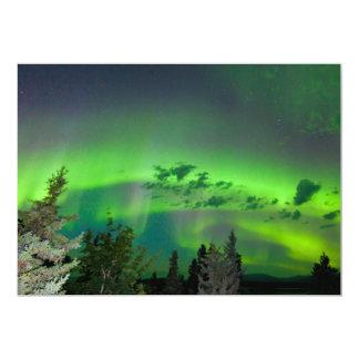 Aurora borealis over boreal forest 5x7 paper invitation card