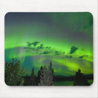 Aurora borealis over boreal forest mouse pad