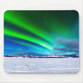 Aurora borealis over frozen Lake Laberge, Yukon Mouse Pad