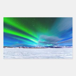 Aurora borealis over frozen Lake Laberge, Yukon Rectangular Stickers