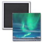 Aurora Borealis over Mosfellsheiði 2 Inch Square Magnet