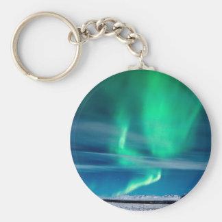 Aurora Borealis over Mosfellsheiði Basic Round Button Keychain