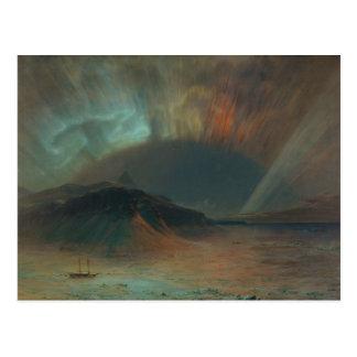 Aurora Borealis por la iglesia 1865 de Federico Ed Tarjeta Postal