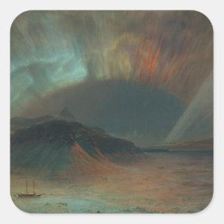 Aurora Borealis por la iglesia 1865 de Federico Pegatina Cuadrada