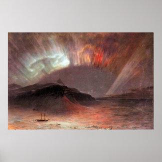 Aurora Borealis por la iglesia de Federico Edwin Posters