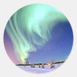Aurora Borealis Round Stickers
