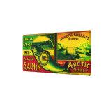 Aurora Borealis Salmon Can LabelKarluk, AK Canvas Print