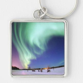 Aurora Borealis Silver-Colored Square Keychain