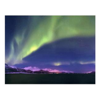 Aurora Borealis sobre Lyngenfjorden Noruega Postales