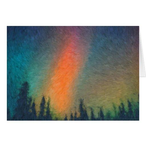 Aurora Borealis Van Gogh Tarjeta De Felicitación