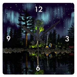 Aurora camp fire square wall clock