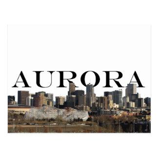 Aurora CO Skyline with Aurora in the Sky Postcard