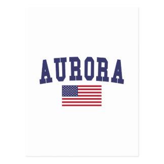 Aurora CO US Flag Postcard