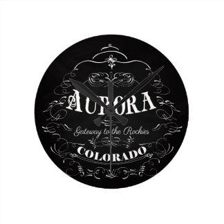 Aurora, Colorado - Gateway To The Rockies Round Clock