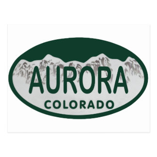 Aurora Colorado license oval Postcard