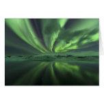 Aurora de Islandia. La aurora boreal Tarjeta