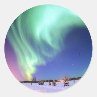Aurora en el lago bear pegatina redonda