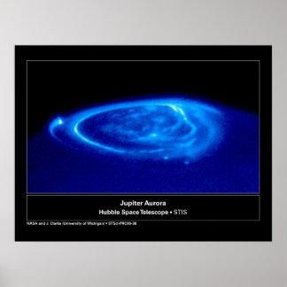 Aurora en el telescopio de Júpiter Hubble Póster