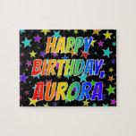 "[ Thumbnail: ""Aurora"" First Name, Fun ""Happy Birthday"" Jigsaw Puzzle ]"