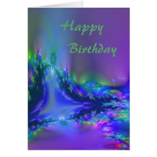 Aurora Fractal in purple and blue Birthday Card