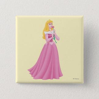 Aurora Holding Flower Pinback Button