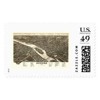 Aurora, IL Panoramic Map - 1882 Postage Stamp