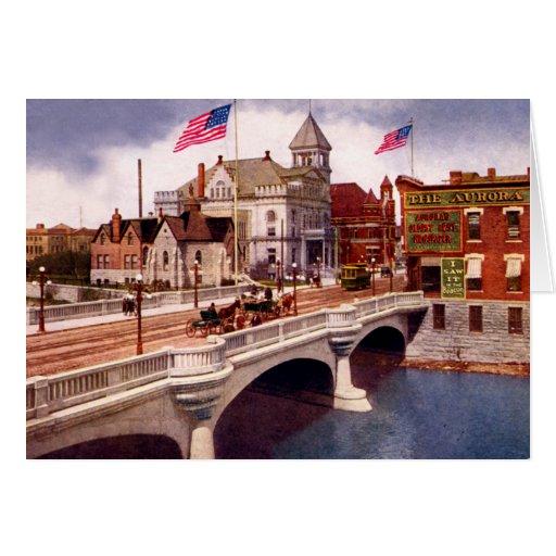 Aurora Illinois East Fox Street Bridge Greeting Card