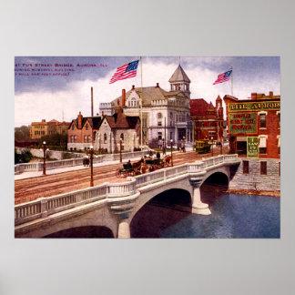Aurora Illinois East Fox Street Bridge Poster