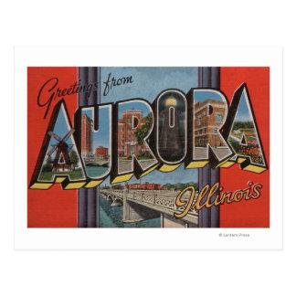 Aurora, Illinois - Large Letter Scenes Postcard