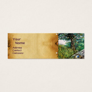 AURORA / MAGIC TREE, green, blue,parchment Mini Business Card
