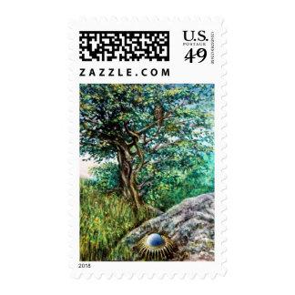 AURORA / MAGIC TREE, green, blue, Postage