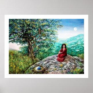 AURORA / MAGIC TREE, green, blue, Posters