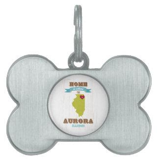 Aurora, mapa de Illinois - casero es donde está el Placa De Nombre De Mascota