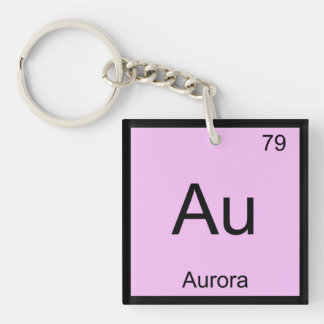 Aurora Name Chemistry Element Periodic Table Single-Sided Square Acrylic Keychain