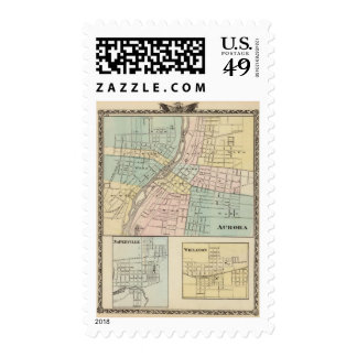 Aurora, Naperville and Wheaton Postage Stamp