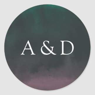 Aurora | Northern Lights Wedding Monogram Classic Round Sticker